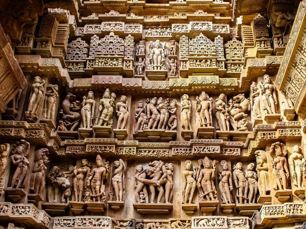 Close,Up,Of,Artful,Carved,Walls,Of,Kandariya,Mahadeva,Temple,